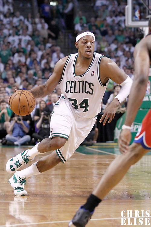26 May 2012: Boston Celtics small forward Paul Pierce (34) dribbles during the Boston Celtics 85-75 victory over the Philadelphia Sixer, in Game 7 of the Eastern Conference semifinals playoff series, at the TD Banknorth Garden, Boston, Massachusetts, USA.