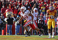 November 06 2010: Nebraska Cornhuskers running back Roy Helu Jr. (10) scores a touchdown on a 6 yard run during the first half of the NCAA football game between the Nebraska Cornhuskers and the Iowa State Cyclones at Jack Trice Stadium in Ames, Iowa on Saturday November 6, 2010. Nebraska defeated Iowa State 31-30.