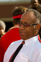 19 September 2009: Will Robinson Jr. mingles with a crowd of fans and well wishers as Illinois State University took the day to celebrate 2 of it's own, the late Will Robinson and national hero Doug Collins.  Will Robinson became the first black head basketball coach in NCAA Division I history when names ISU basketball coach in 1970.  Doug Collins was an Illinois State standout basketball player who represented the United States in the 1972 Olympics, played NBA ball for several years where he later coached and recently recieved the Curt Gowdy Media Award for career in broadcasting.  A statue was erected in their honor on the terrace just north of the main entrance to Redbird Arena on ISU's campus in Normal IL