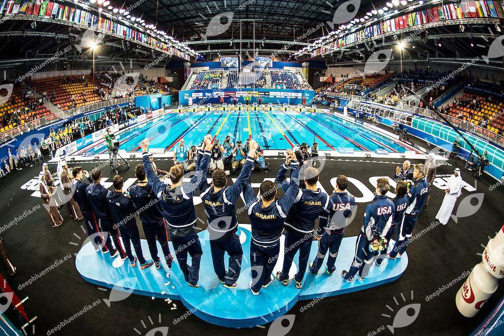 Brazil Gold Medal<br /> GUIDO Guilherme<br /> FRANCA SILVA Felipe<br /> MACEDO Marcos<br /> CIELO FILHO Cesar<br /> Men's 4x100m Medley Relay Final<br /> Doha Qatar 07-12-2014 Hamad Aquatic Centre, 12th FINA World Swimming Championships (25m). Nuoto Campionati mondiali di nuoto in vasca corta.<br /> Photo Giorgio Scala/Deepbluemedia/Insidefoto