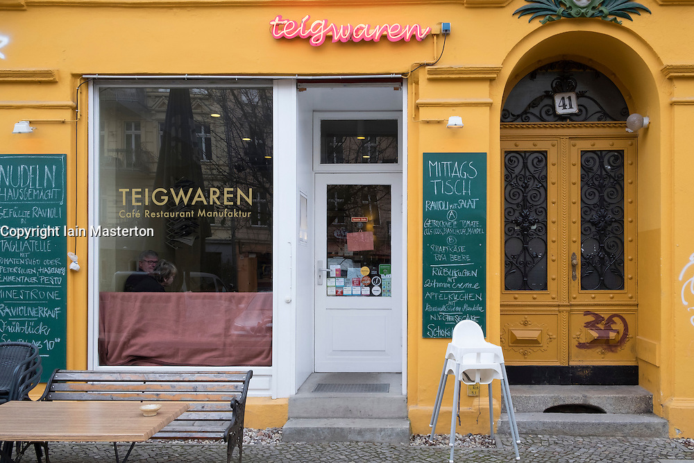 Exterior of Teigwaren cafe and restaurant in Prenzlauer Berg, Berlin, Germany