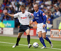 Photo: Chris Ratcliffe.<br />Leicester City v Ipswich Town. Coca Cola Championship. 12/08/2006.<br />Dean Bowditch (L) of Ipswich clashes with Josh Low of Leicester.