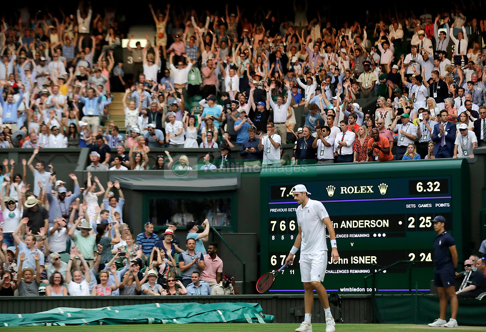 John Isner after his match between Kevin Anderson in the longest semi-final in the tournament's history on day eleven of the Wimbledon Championships at the All England Lawn Tennis and Croquet Club, Wimbledon.