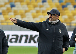March 13, 2019 - Kiev, Ukraine - Chelsea manager MAURIZIO SARRI leads a trainning session of his team on the Olimpiyskiy stadium in Kiev, Ukraine, on 13 March 2019. Chelsea will face Dynamo Kyiv in the UEFA Europa League, second leg soccer match in Kiev on 14 March 2019. (Credit Image: © Serg Glovny/ZUMA Wire)