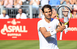 Rafael Nadal applauds the fans after his match during day one of the Aspall Classic at the Hurlingham Club, London.