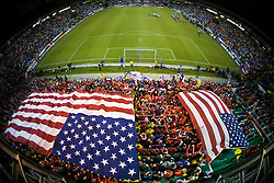 Aerial view of Columbus Crew Stadium and the American fan section consisting of Sam's Army and the American Outlaws.  The United States men's soccer team defeated the Mexican national team 2-0 in CONCACAF final group qualifying for the 2010 World Cup at Columbus Crew Stadium in Columbus, Ohio on February 11, 2009.