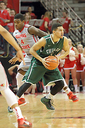 04 December 2013:  Clarke Rosenburg  cuts under Bobby Hunter while bring the ball up the court during an NCAA  mens basketball game between the Cougars of Chicago State and the Illinois State Redbirds  in Redbird Arena, Normal IL
