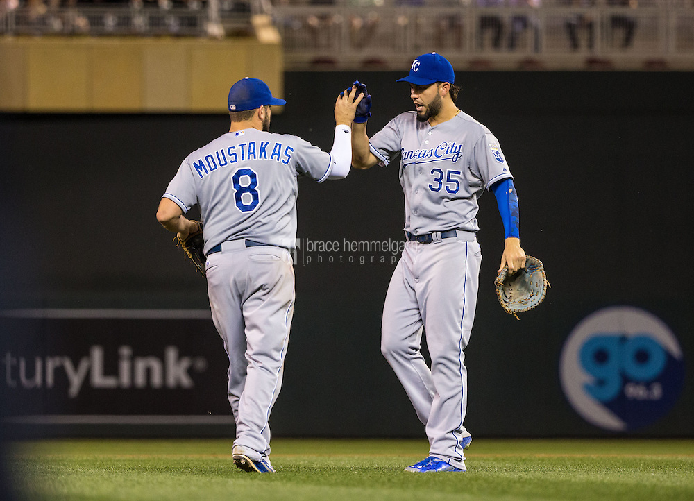 MINNEAPOLIS, MN- JUNE 09: Eric Hosmer #35 of the Kansas City Royals celebrates with Mike Moustakas #8 against the Minnesota Twins on June 9, 2015 at Target Field in Minneapolis, Minnesota. The Royals defeated the Twins 2-0. (Photo by Brace Hemmelgarn) *** Local Caption *** Eric Hosmer;Mike Moustakas