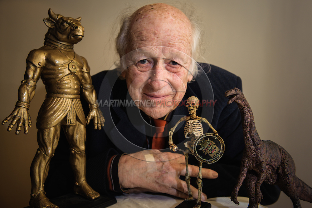 EDINBURGH, SCOTLAND, JUNE 25, 2008: Special effects pioneer Ray Harryhausen poses with some of his stop-motion creature creations during a photocall inside Cineworld Cinema in Edinburgh, Scotland on June 25, 2008