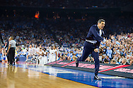 04 APR 2016: Head Coach Jay Wright of Villanova University reacts to a shift in the game against the University of North Carolina during the 2016 NCAA Men's Division I Basketball Final Four Championship game held at NRG Stadium in Houston, TX. Villanova defeated North Carolina 77-74 to win the national title. Brett Wilhelm/NCAA Photos