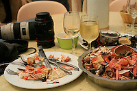 the leftover shells of a plate of shellfish at le Vivier, Quiberon...photo by Owen Franken for the NY Times..July 8, 2008..