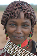 Pretty young Hamer girl at the jumping of the bull ceremony,Ethiopia,Africa