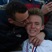Hershey, PA - November 17:  During the Pennsylvania Interscholastic Athletic Association AA Boys Soccer Championship final between Quaker Valley High School and Lancaster Mennonite High School at Hershey Park Stadium on November 17, 2017 in Hershey, PA.  The Quakers went on to win 3-2. (Photo by Shelley Lipton)