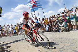 July 15, 2018 - Amiens Metropole, FRANCE - Belgian Jasper Stuyven of Trek-Segafredo pictured in action during the eighth stage of the 105th edition of the Tour de France cycling race, from Arras Citadelle to Roubaix (156,5 km), in France, Sunday 15 July 2018. This year's Tour de France takes place from July 7th to July 29th. BELGA PHOTO YUZURU SUNADA (Credit Image: © Yuzuru Sunada/Belga via ZUMA Press)