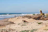 Big winter swell during the Surfers' Point Beach Managed Retreat project in Ventura, California.