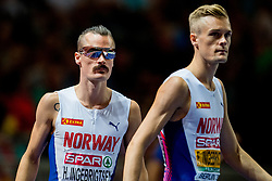 August 10, 2018 - Berlin, GERMANY - 180810 Henrik and Filip Ingebrigtsen of Norway ahead of the men's 1500 meter final during the European Athletics Championships on August 10, 2018 in Berlin..Photo: Vegard Wivestad GrÂ¿tt / BILDBYRN / kod VG / 170201 (Credit Image: © Vegard Wivestad Gr¯Tt/Bildbyran via ZUMA Press)