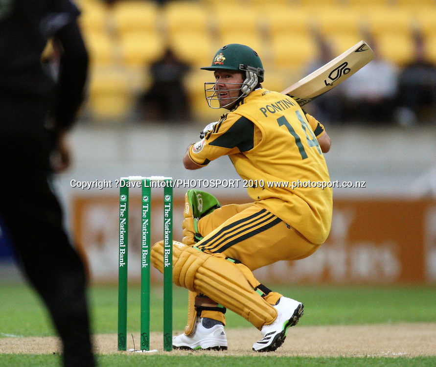 Australian captain Ricky Ponting watches as he is caught off his helmet and given out off his first ball.<br /> Fifth Chappell-Hadlee Trophy one-day international cricket match - New Zealand v Australia at Westpac Stadium, Wellington. Saturday, 13 March 2010. Photo: Dave Lintott/PHOTOSPORT