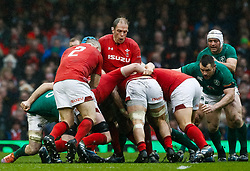 Alun Wyn Jones of Wales driving the maul<br /> <br /> Photographer Simon King/Replay Images<br /> <br /> Six Nations Round 5 - Wales v Ireland - Saturday 16th March 2019 - Principality Stadium - Cardiff<br /> <br /> World Copyright © Replay Images . All rights reserved. info@replayimages.co.uk - http://replayimages.co.uk
