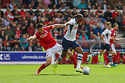 Daniel Johnson of Preston North End is challenged by Joe Lolley of Nottingham Forest during the EFL Sky Bet Championship match between Nottingham Forest and Preston North End at the City Ground, Nottingham, England on 31 August 2019.