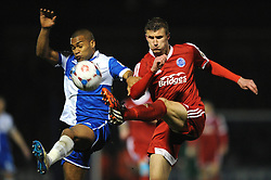 Aldershot Town's Sean McGinty clears the ball under pressure from Bristol Rovers' Jerome Easter - Photo mandatory by-line: Dougie Allward/JMP - Mobile: 07966 386802 - 20/03/2015 - SPORT - Football - England - Memorial Stadium - Bristol Rovers v Aldershot - Vanarama Football Conference