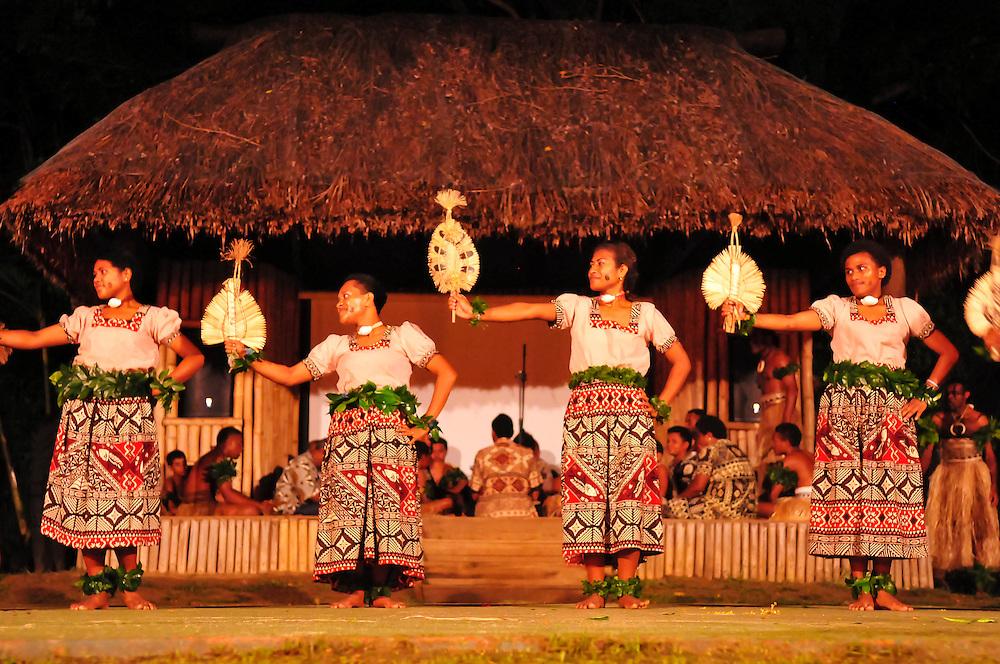 Fijian dance performance at Shangri-La Fijian Resort, Viti Levu Island, Fiji.