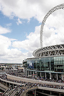 Crowds of supporters surround Wembley before the Sky Bet Championship Play Off final at Wembley Stadium, London<br /> Picture by Andrew Tobin/Focus Images Ltd +44 7710 761829<br /> 24/05/2014