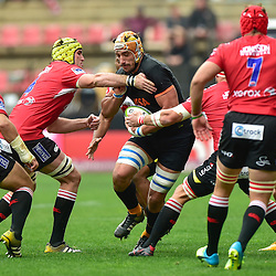 Johannesburg, SOUTH AFRICA, 21, MAY 2016 - during the Super Rugby match between Emirates Lions vs Jaguares ,Emirates Airlines Park,Johannesburg<br /> Lourens Erasmus of the Emirates Lions and Tomás Lavanini of the Jaguares. <br /> South Africa. (Photographer Christiaan Kotze ) -- (Steve Haag Sports) <br /> <br /> Images for social media must have consent from Steve Haag