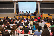 Houston ISD EMERGE students listen to comments from first generation college students at Tufts University, June 2, 2014.