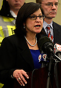 U.S. Attorney Carmen Ortiz addresses members of the media at a press conference in Boston on April 15, 2013. Three people were killed by two explosions on Boylston Street near the finish line of the Boston Marathon, in which 27,000 people competed.