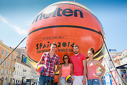 Tomislav Zubcic and Luka Babic with their girlfriends at FIBA Basketball World Cup Spain 2014 Trophy Tour, on June 22, 2014 in Ban Jelacic Square, Zagreb, Croatia. Photo By Vid Ponikvar / Sportida