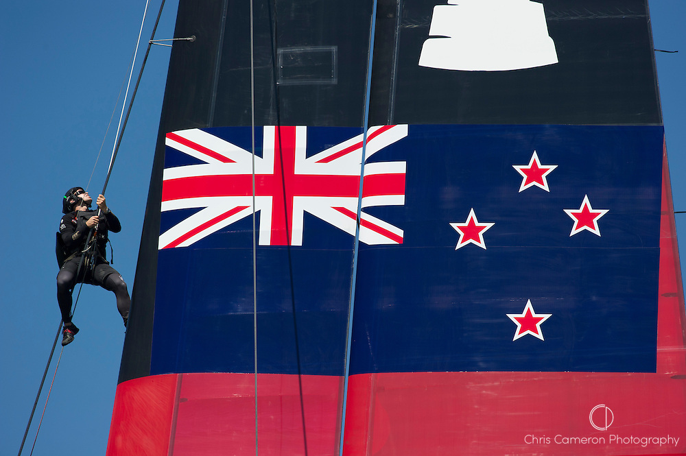 Emirates Team New Zealand prepare for the first race of the America's Cup 34. 7/9/2013