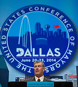 Dallas Mayor Mike Rawlings speaks during the Opening Plenary Luncheon to begin 82nd annual meeting at the Omni Hotel in Dallas, Texas on June 20, 2014.  (Cooper Neill for The New York Times)