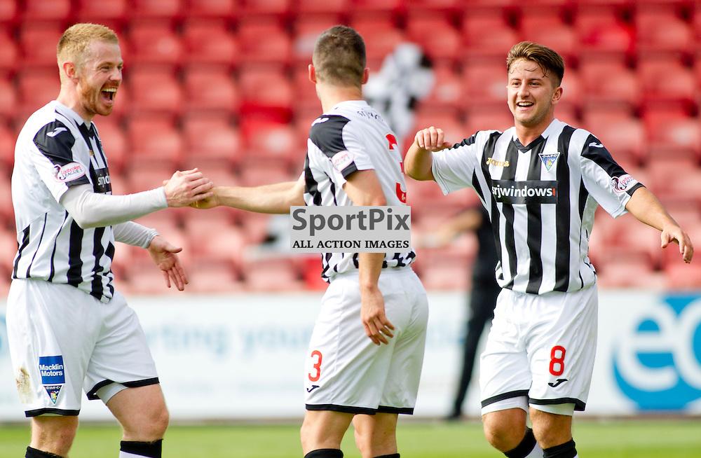 Dunfermline Athletic v Stranraer SPFL League One Season 2015/16 East End Park 29 August 2015<br /> Jason Talbot celebrates with Andy Geggan and Josh Falkingham<br /> CRAIG BROWN | sportPix.org.uk