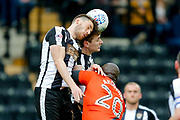 Notts County defender Shaun Brisley (16) wins the header  during the EFL Sky Bet League 2 match between Notts County and Wycombe Wanderers at Meadow Lane, Nottingham, England on 30 March 2018. Picture by Simon Davies.
