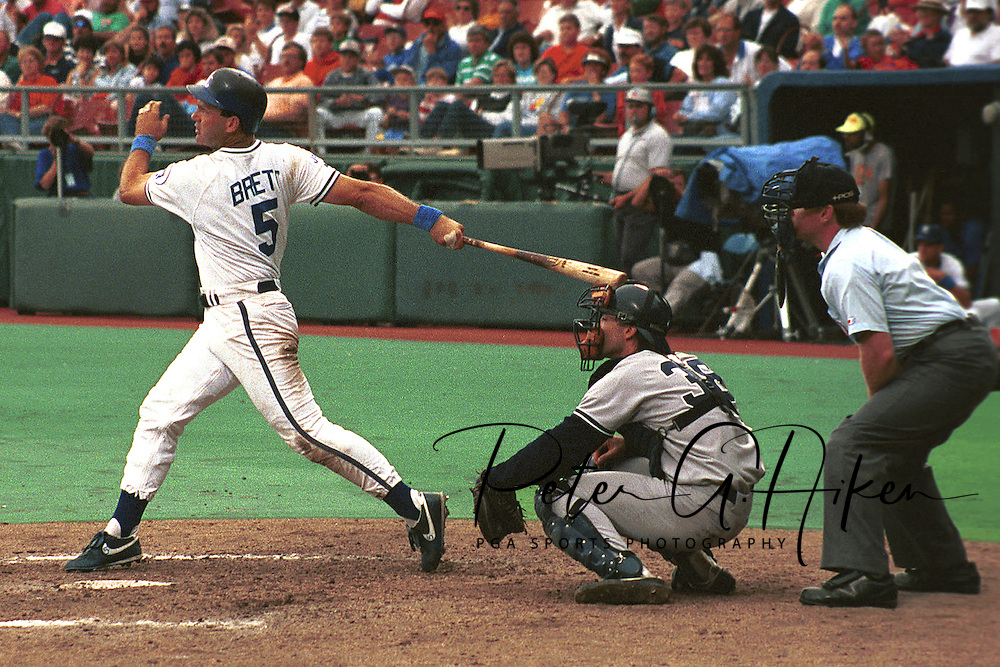 Kansas City Royal George Brett during game action against the New York Yankees at Kauffman Stadium in Kansas City, Missouri in 1993.