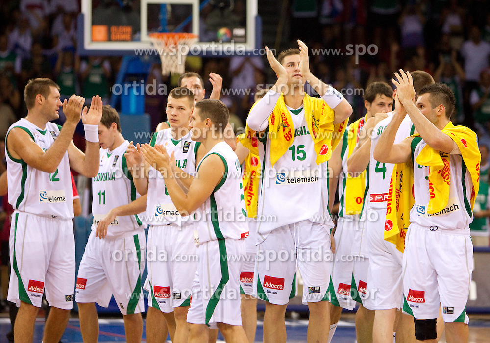 Slovenia players after they lost at the Preliminary Round - Group B basketball match between National teams of USA and Slovenia at 2010 FIBA World Championships on August 29, 2010 at Abdi Ipekci Arena in Istanbul, Turkey.  USA defeated Slovenia 99 - 77. (Photo by Vid Ponikvar / Sportida)