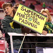 University of Oregon fan shares her Marcus Mariota pride pre-game of the Ducks vs University of Utah Utes at Rice-Eccles Stadium, Salt Lake City, Utah. Photo by Barry Markowitz, 11/8/14, 8pm
