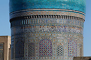 Close up detail of a blue cupola,  Mir-i-Arab Madrasah, 1535, Bukhara, Uzbekistan, pictured on July 11, 2010 in the afternoon. The Mir-i Arab Madrasah, which stands opposite the Kalyan Mosque was built by the Shaybany Ubaydallah Khan, and is still a functioning madrasah. Bukhara, a city on the Silk Route is about 2500 years old. Its long history is displayed both through the impressive monuments and the overall town planning and architecture. Picture by Manuel Cohen.