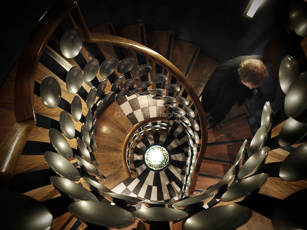 The spiral staircase at The Magic Circle that leads to the Devant Room and the Theatre.