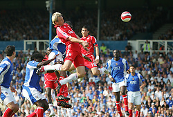 Portsmouth, England: Saturday, April 28, 2007: Liverpool's Sami Hyppia scores with a header against Portsmouth during the Premiership match at Fratton Park (Pic by Chris Ratcliffe/Propaganda)