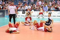 Grzegorz Lomacz, Jakub Kochanowski, Pawel Zatorski of Poland during the CEV Volleyball European Championship game Poland - Slovenia on August 30, 2017 in Krakow, Poland. (Photo by Krzysztof Porebski / Press Focus)