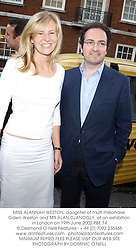 MISS ALANNAH WESTON, daughter of multi millionaire Galen Weston and MR ALAN DJANOGLY, at an exhibition in London on 19th June 2002.	PBE 74
