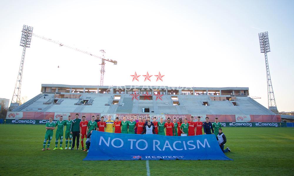 SOFIA, BULGARIA - Wednesday, November 26, 2014: Liverpool and PFC Ludogorets Razgrad players before the UEFA Youth League Group B match at the Georgi Asparuhov Stadium. (Pic by David Rawcliffe/Propaganda)