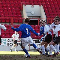 Clyde v St Johnstone...06.03.04<br />Simon Donnelly scores St Johnstone's opening goal<br /><br />Picture by Graeme Hart.<br />Copyright Perthshire Picture Agency<br />Tel: 01738 623350  Mobile: 07990 594431