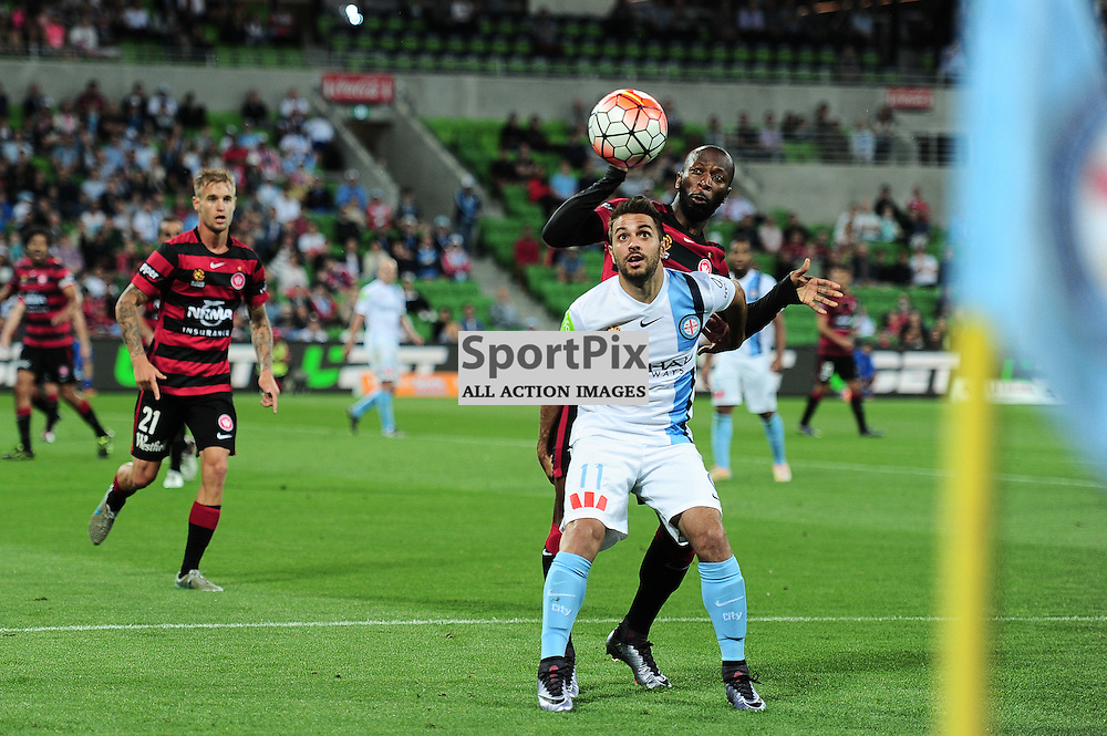 Michael Zullo of Melbourne City, Romeo Castelen of Western Sydney Wanderers FC - Hyundai A-League, January 9th 2016, RD14 match between Melbourne City FC v Western Sydney Wanderers FC at Aami Park in a 3:2 win to City. Melbourne, Australia. © Mark Avellino | SportPix.org.uk