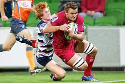 April 3, 2015 - Melbourne, Victoria, Australia - JAKE SCHATZ of the Reds runs in to score a try as NIC STIRZAKER of the Melbourne Rebels tries to stop him during the 2015 Super Rugby round 8 game between the Melbourne Rebels and the Reds at AAMI Park. The Melbourne Rebels beat the Reds 23-15. (Credit Image: © Tom Griffiths/ZUMA Wire)
