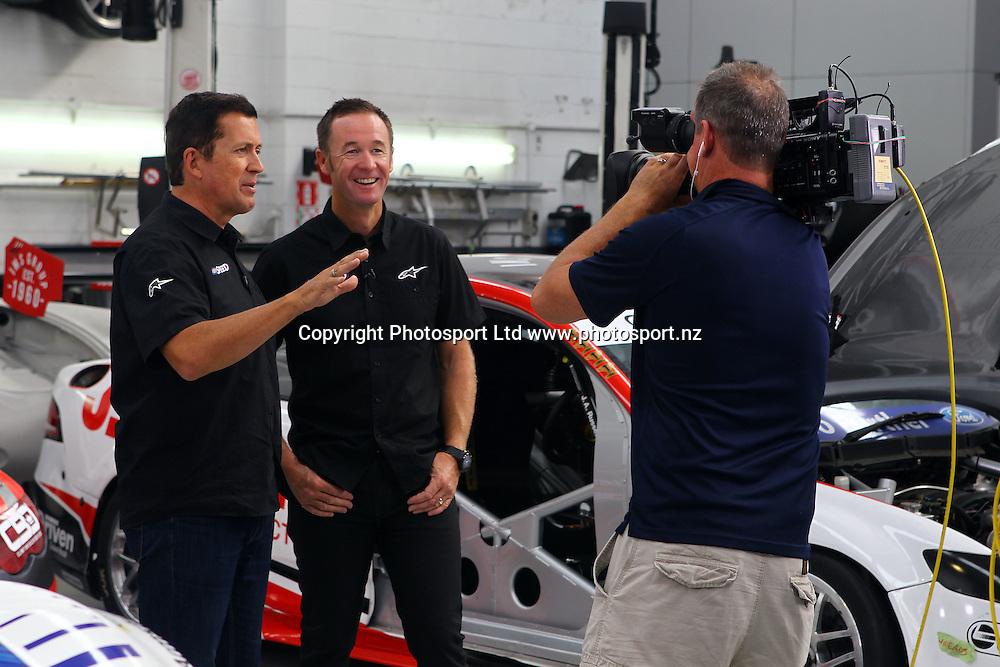 Steven McIvor and Greg Murphy, Sky Speed Presenter Shoot, Auckland, New Zealand. 8 March 2016. Copyright Image: William Booth / www.photosport.nz
