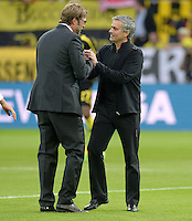 FUSSBALL  CHAMPIONS LEAGUE  HALBFINALE  HINSPIEL  2012/2013      Borussia Dortmund - Real Madrid              24.04.2013 Trainer Juergen Klopp (li, Borussia Dortmund) und Trainer Jose Mourinho (re, beide Real Madrid)