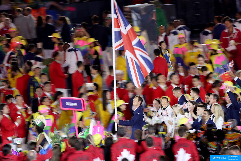 Opening Ceremony 2016 Olympic Games: Andy Murray carries the Great British flag as athletes enter the Maracana stadium during the spectacular opening ceremony for the 2016 Olympic Games on August 5, 2016 in Rio de Janeiro, Brazil. (Photo by Tim Clayton/Corbis via Getty Images)