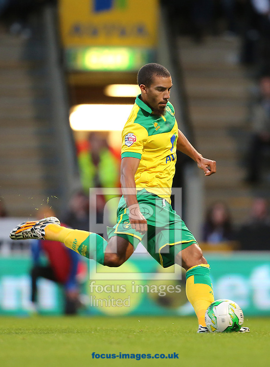Lewis Grabban of Norwich City sees his initial penalty saved by Paul Robinson of Blackburn Rovers but scored the equalising goal from the follow up during the Sky Bet Championship match at Carrow Road, Norwich<br /> Picture by Richard Calver/Focus Images Ltd +447792 981244<br /> 19/08/2014